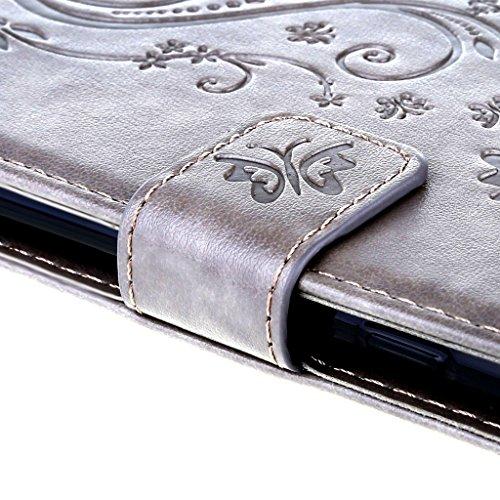 Custodia iPhone 7 Cover Grigio , Leathlux Retro Fiore Modello Design Con Cinturino da Polso Magnetico Snap-on Book style Internamente Silicone TPU Custodie Case in pelle Protettiva Flip Case per iPhon Grigio
