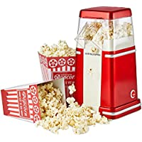 Andrew James Cinema Style Popcorn Maker - Retro Hot Air Popper Machine with Vintage Styling is Perfect for Movie Night - Lid Doubles as 80g Scoop to fill the 4 Serving Boxes - 900W