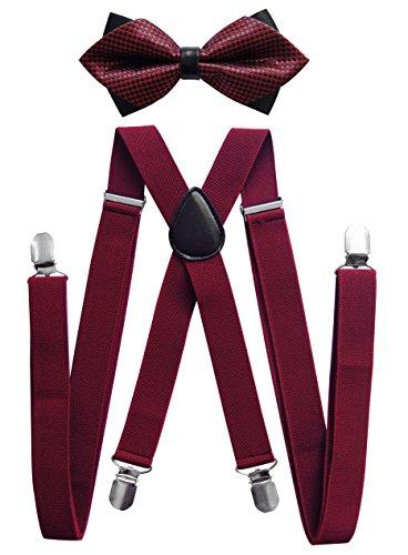axy® Herren Hosenträger mit Fliege - 4 Starken Clips X-Form HFLI3 (Weinrote Hosenträger Breit 2,5cm + Fliege Nr.13) (Und Clip-fliege Hosenträger)