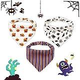 Halloween Bavaglino Neonato Confezione da 3 Disegni Bandana Bavaglini con Bottoni Regolabile Bavaglino Bambini bandana assorbente morbido, Cotone 1-3 anni (Bavaglino 3 pezzi di Halloween)