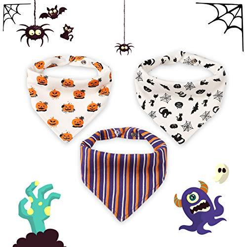 Halloween Sabber Lätzchen Dreieckige Baumwolle Weiche Nette Fütterung Dreieckstuch Lätzchen Lätzchen Baumwolle Halstücher mit Druckknöpfen (Halloween 3-teiliges Lätzchen)