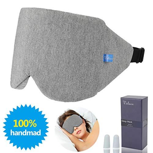 Schlafmaske, VOLUEX Upgraded Contoured Nachtmaske Ultraweiche, Atmungsaktive und Blockiert Licht 100% Schlaf-Augenmaske für Reise/Nickerchen/Nachtschlaf Ohrstöpsel für Herren und Damen Geschenk -