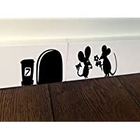 MOUSE with flower Amour Love Heart Kids funny wall art decal stickers Baseboard Kids Mice by spb87 - Funny Car Decal Sticker