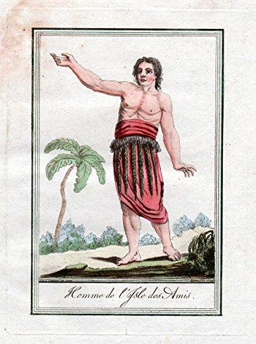 Homme de l'Isle des Amis - Freundschaftsinsel Tonga Pacific Tracht Trachten costume Kupferstich engraving