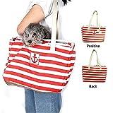GYWDGS Pet Fashion Stripe Outfit Tragetasche, Reise-Handtasche Pet Crossbody-Tasche,Red