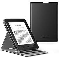 MoKo - Custodia a libro con funzione supporto per Kindle Paperwhite versioni 2012, 2013, 2015, 2016, Nero, 6 pollici