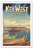 Pacifica Island Art Key West, Florida - Urlaub Das Ganze Jahr über - Ernest Hemingway's Boot Pilar - Vintage Retro Welt Reise Plakat Poster von Kerne Erickson - Kunstdruck - 76cm x 112cm