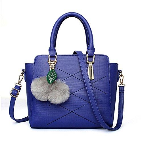 HQYSS Borse donna Semplice a tracolla in pelle selvaggio messaggero dell'unità di elaborazione Borsa Secchiello Palla di pelo decorato borsa solido di colore Tote Bag per le donne e del ragazzo , red blue