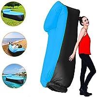 Sofa Hinchable, tumbona inflable cama con almohada integrada, portátil impermeable 210T poliester aire sofá inflable Sillón, Tumbona de playa cama de aire para, Camping de Verano, Pesca