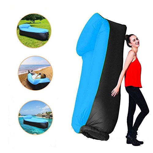Sofa Hinchable tumbona inflable cama con almohada integrada,portátil impermeable 210T poliester aire sofá inflable Sillón,Tumbona de playa cama de aire para viajar,Camping, parque, playa, patio trasero