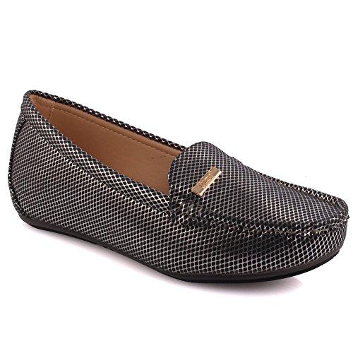 Unze Damen bin Oku' stilvolle Slip-ons Desined formale Komfortable Glossy Chic Flats Slipper bequem Karneval Abend Mokassins Pumps Schuhe Größe 3-8 - MT679 (Indische Die Mokassin-schuhe)
