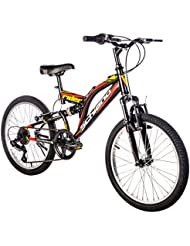 """F.lli Schiano Rider - Bicicleta Biamortiguada, color negro / rojo, 20"""""""