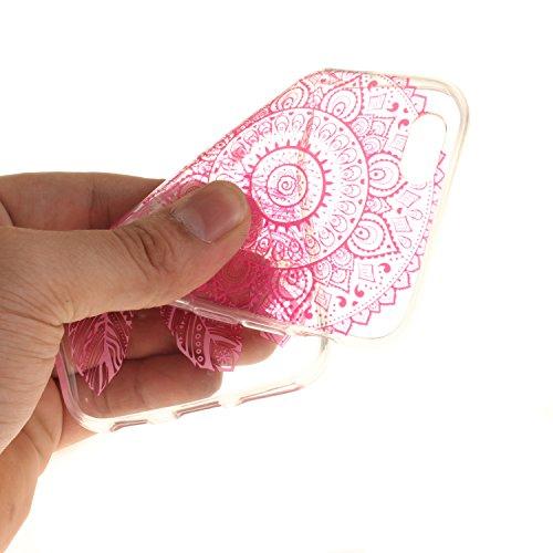 Custodia per iPhone 6S 6,SKYXD Lusso Luminosa Brillante Strass Creativo Disegni Rainbow Cover Trasparente Silicone Antiurto Case per Apple iPhone 6/6S Case Custodia per iPhone 6 iPhone 6S Glitter Moda Rosso Rose Campanula
