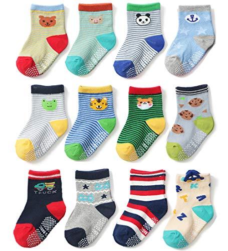 Ceguimos 12er Pack Baby Kleinkinder ABS Antirutsch Socken, Set B, 1-3 Jahre -
