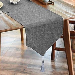 LUOLUO Leinenoptik Tischläufer Fringe Tischläufer Tischdecke Elegante Heimtextilien für Den Innen- und Außenbereich tischläufer grau