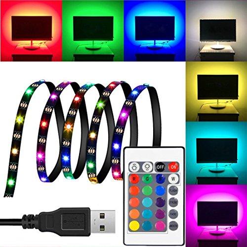 LED TV hintergrundbeleuchtung usb 2m/6.56ft TV Beleuchtung Band Kit für 40-60 Zoll TV RGB 5050 led Strip mit Fernbedienung USB Powered LED Steifen für Fernseher,andere Bildschirme[Energieklasse A+++]