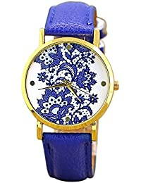 Geneva Women's Lace Printed Wrist Watch Dark Blue