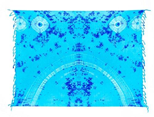 Sarong ca. 170cm x 110cm Handbemalt Tie Dye Batik inkl. Sarongschnalle im Raute Design - Viele exotische Farben und Tie Dye Muster zur Auswahl - Pareo Dhoti Lunghi Tie Dye Türkis Blau