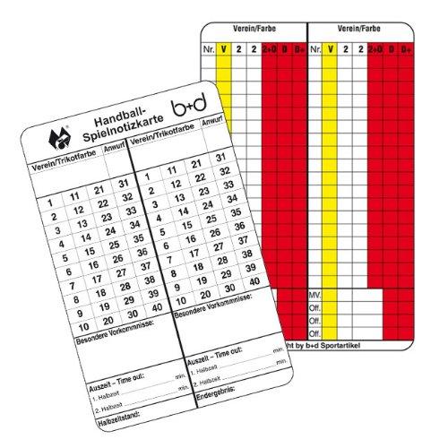 b+d Spielnotizkarten Handball 500 Stück