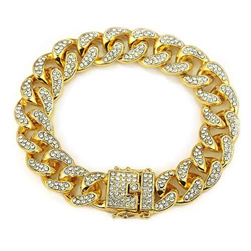 Armband aus kubanischer Panzerkette, 18 Karat vergoldet,14mm Breite Iced Out Hip Hop Kette Herren Schmuck Curb Armbänder Kristall Strass Diamanten Kubanisches Gold Überzogene Gliederkette 20cm ,Gold