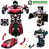Comtechlogic CM-2200 2.4Ghz Lamborghini Veneno Loader Bulldozer Waste Truck Rc Radio Remote Control Bumblebee Transformers Drifting Car & Robot One Touch Transforming (RED)