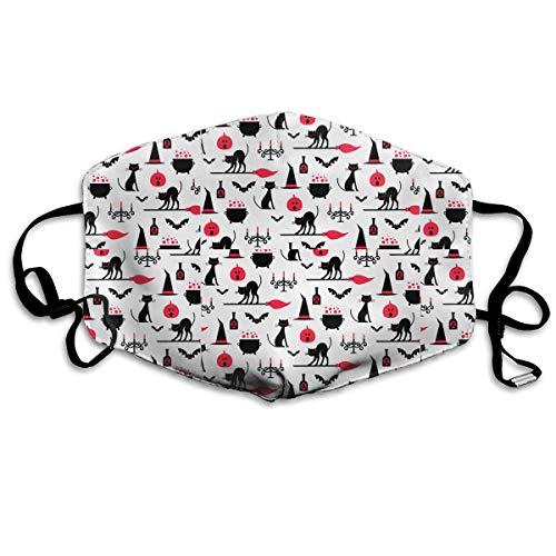 Vidmkeo Unisex-Staubmaske Halloween-Kürbis-Katze-Kerze-rote Mund-Gesichtsmaske-Gesichts-Anti-Verschmutzungs-im Freienmaske-Tätigkeiten warme Winddichte Gesichtsmasken (Katze Im Hut Kürbis)