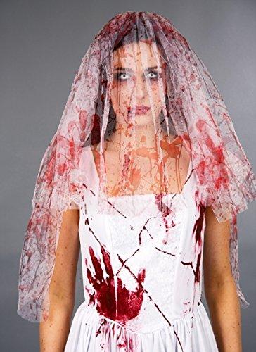 Festartikel Müller Kostüm Zubehör blutiger Brautschleier zu Halloween Horror Braut (Halloween Zubehör Kostüm Braut)