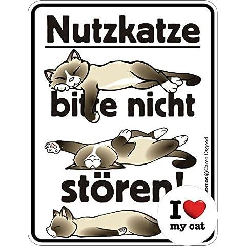Calamita: utili gatto, non disturbare!: latta 9 x 7 cm + button I love my cat - Non Disturbare Cat