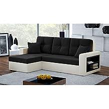JUSThome METRO I Sofá esquinero chaise longue función de cama Sofá-cama Piel sintética Microfibra (BxLxH): 143x279x93 cm Beige Negro Brazo izquierdo