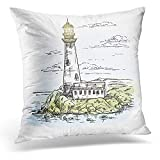 TEPEED Decorative Pillow Cover Island with Rocks and Lighthouse Building on It Near Keeper Construction Warehouse Beacon Searchlight Throw Pillow Case Square Home Decor Pillowcase 18x18 Inches