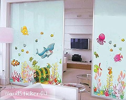 'sticker4u?Sticker mural mural Monde sous-marin avec coffre au trésor Multicolore | Effet image?: 122x 68cm | poissons hippocampe de requin mer océan Aquarium | étanche & Sticker mural amovible pour chambre d'enfant enfants salle de bain salle de bains carrelage Gross