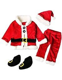 4PCS Noël Vêtements Bébé Noël Costume Enfant Noël Bebe Tops Manteau +Pantalons+Chapeau Bonnet du Père Noël+Chaussettes Longra Cadeaux de Noël pour Enfant Noël Habit Enfant