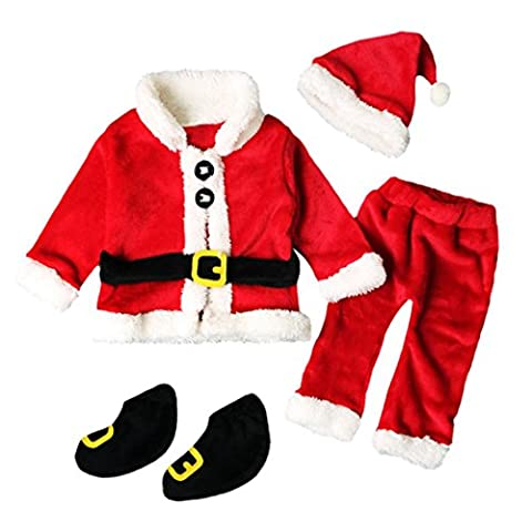 4PCS Noël Vêtements Bébé Noël Costume Enfant Noël Bebe Tops Manteau +Pantalons+Chapeau Bonnet du Père Noël+Chaussettes Longra Cadeaux de Noël pour Enfant Noël Habit Enfant (12M, Rouge)