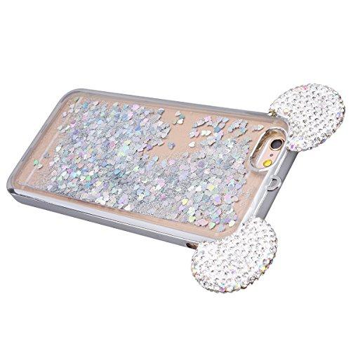 GrandEver iPhone 6S Plus Glitzer Hülle iPhone 6 Plus Weiche Silikon Handyhülle Diamant Maus Ohren Gel Bling Electroplate TPU Bumper Liquid Fließen Flüssigkeit Schutzhülle für iPhone 6 Plus/iPhone 6S P Silber