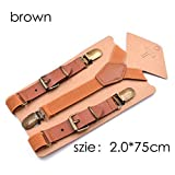 LLZGPZBD Hosenträger/Brown Boys Hosenträger Vintage Leder Hosenträger für Kinder Button Hosen Hosenträger für Junge Hochzeit 75 cm Hosenträger, 2,0 cm