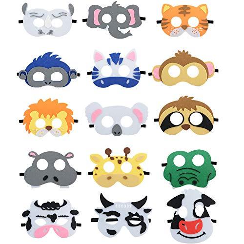 JYCRA Tiermasken aus Filz, 15 Stück, lustige