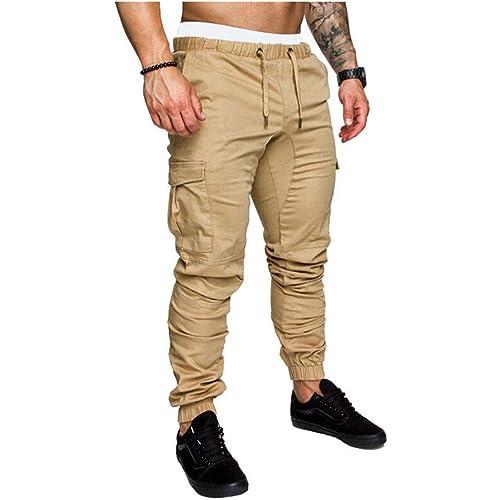 Pantaloni Uomo Slim Fit Casual Pantaloni da Jogging Allenamento a Matita con Coulisse Tasche Laterali Pantaloni Streetwear