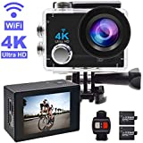Action Camera,GEREE 4K WiFi Waterproof Sports Cam 170 Degree Wide Angle Lens With 2 Rechargeable Battery And Mounting Accessories Kits