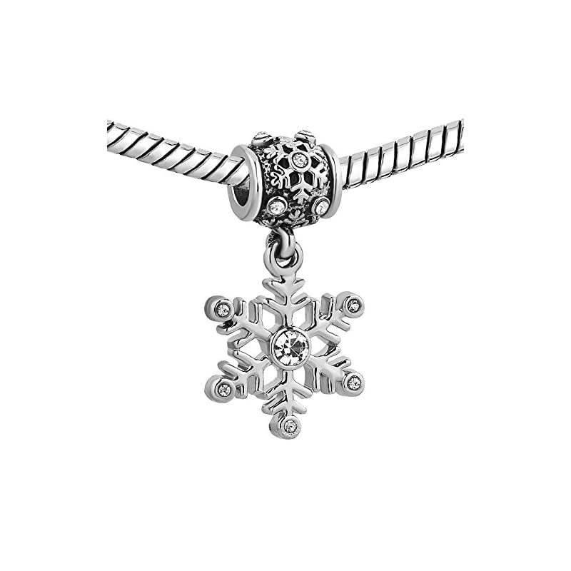 Uniqueen Jewellery Christmas Snowflake Birthstone Charms Fit Charm Bracelets