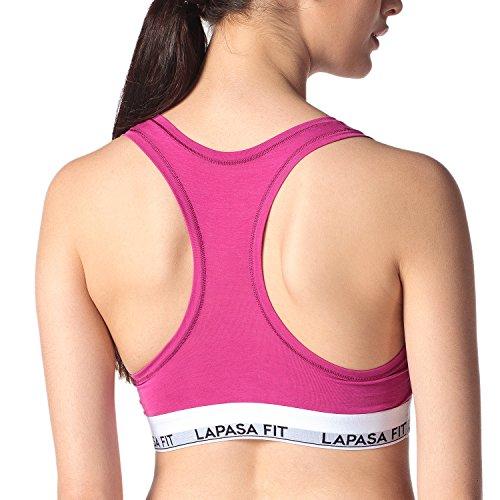 Lapasa Donna Reggiseno Sportivo Bralette *Micro Modal* Top Simple Basic rosa viola(bra)