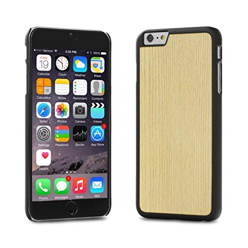 Custodia Cover-Up #WoodBack Vero Legno Nero Opaco per iPhone 6 / 6s Plus - Frassino bianco