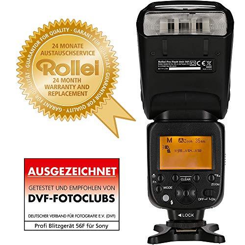 Rollei Profi Blitzgerät 56F für Canon / Nikon - Professionelles Funk Blitzgerät mit TTL-, Manuellen-, Master/Slave- und Stroboskop...