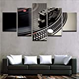 gwgdjk Dipinti su Tela Decorazioni per La Casa Stampe HD Hall Bar Poster 5 Piece Strumento Musicale Dj Giradischi Immagini Night Club Wall Art-40X60/80/100Cm,Without Frame