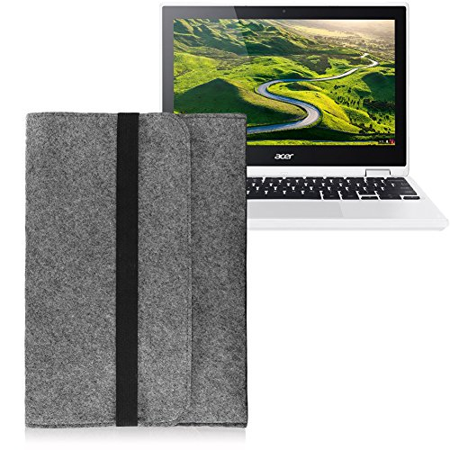 Laptop Tasche Sleeve Hülle für Acer Chromebook R11 Notebook Netbook Ultrabook Case aus strapazierfähigem Filz in Grau mit praktischen Innentaschen von NAUCI