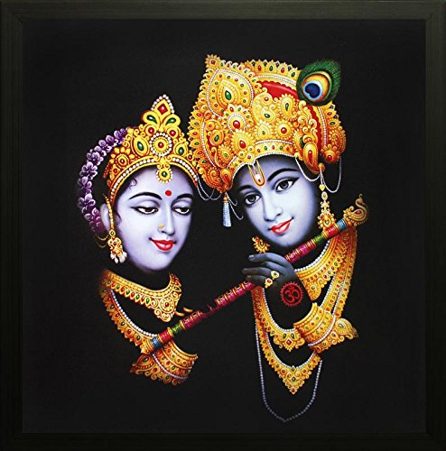 "SAF""Krishna"" Framed Painting (Synthetic, 30 cm x 30 cm x 2 cm, Special Effect Textured)"