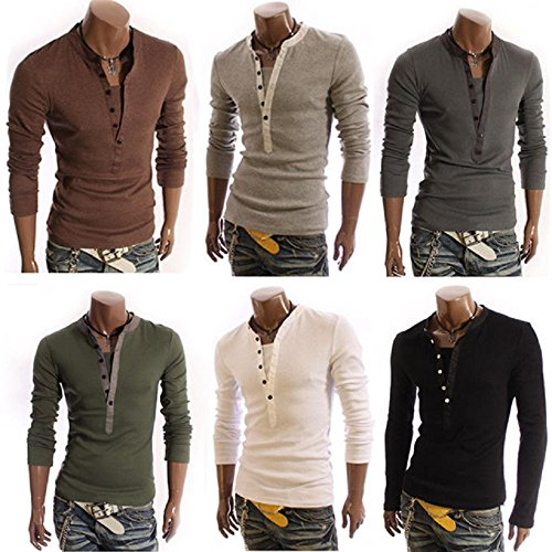 Fashion Herren Casual Baumwolle Slim Long Sleeve Tops Tee T-Shirt Grün - Grün