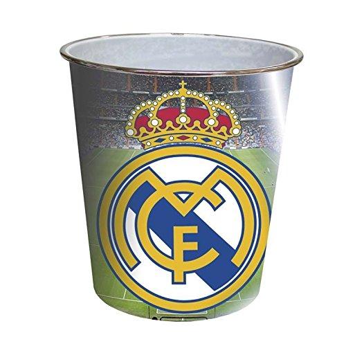 CYP Imports TC-03-RM Papelera platico grande 23 x 22 cm, diseño Real Madrid, Compuesto, Multicolor, 25x7x20 cm