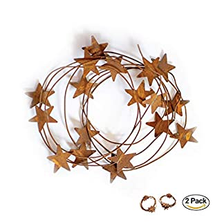 Rusty-Zinn-Girlande-Set-lang-37-m-2-Stck-Metall-rustikal-Primitive-Landbanner-Sterne-Draht-Girlande-Indoor-Outdoor-Weihnachten-Thanksgiving-Party-Decor-Ideal-fr-Kamin-Tisch-Treppe-Veranda