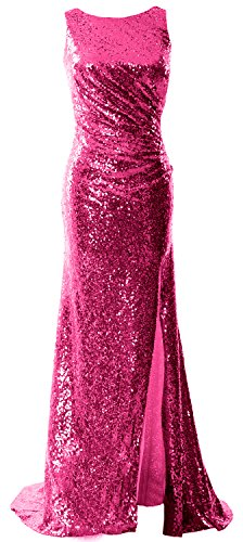 MACloth Women Cowl Back Sequin Formal Party Gown with Slit 2017 Maxi Prom Dress Fuchsia