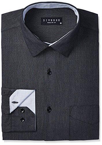 Diverse Men's Solid Regular Fit Cotton Formal Shirt (DVF05F2L01-46!_40!_Black)